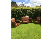 1930s vintage leather two seater sofa and 2 armchairs