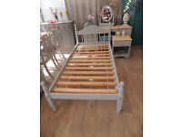 Shabby chic pine bed with bedside table