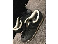 Adidas superstars with fur size 7.5 UK