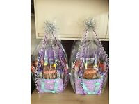 UNICORN LILAC LUNCH BAG/INSULATED COOLER BAG FILLED WITH CHOCOLATE BARS AND A ROLO EASTER EGG.