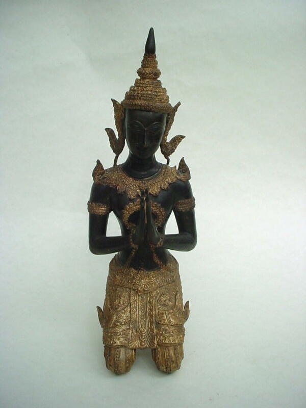 Wonderful large antique Thai Bodhisattva Gilt Bronze Buddha Statue 13""