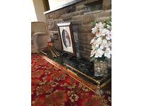 Adjustable antique brass fireplace fender, hearth surround, edging