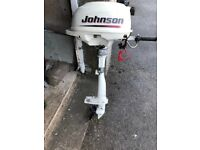 Johnson 2.2hp auxiliary starts and runs fine but mounting bracket missing. Contact for more details