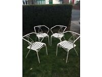 Set of 4 vintage French painted cast iron garden chairs