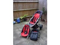 phil&teds Vibe Red/Black Jogger double Seat Stroller