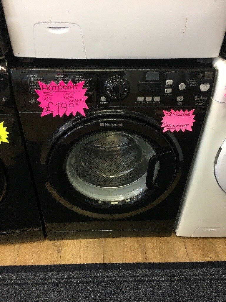 HOTPOINT 9KG DIGITAL SCREEN NEW MODEL WASHING MACHINE IN BLACK