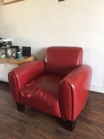 2 Italian Leather Armchairs