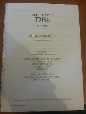 ASTON MARTIN DB6 PARTS MANUAL REPRINTED A4 COMB BOUND 249 PAGES