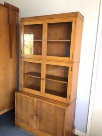 Mid century oak bookcase and cupboard, ex. art studio
