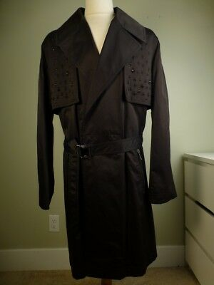 NWT! $2395 VERSACE Trench Coat Studded Black 54/44 Techno Cotton