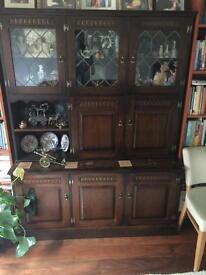 Oak side board & display cabinet