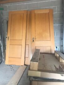 Solid oak internal doors with handles and hinges