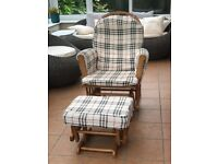 Glider Rocking Chair & Stool, trendy pattern and good conditions