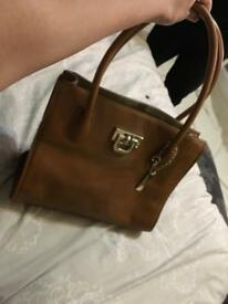Tan grained leather DKNY bag