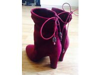 Swede Burgundy Boots Size 4