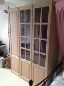 Limed oak triple width wardrobe and chest of drawers