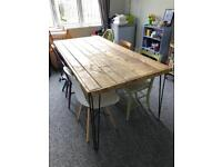 Dining room table (large wooden with hairpin legs)