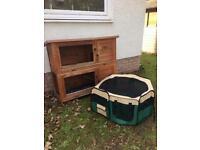 Outdoor hutch and indoor playpen