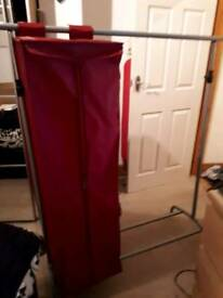 IKEA GARMENT RAIL WITH ATTACHABLE RED WARDROBE COMPARTMENT