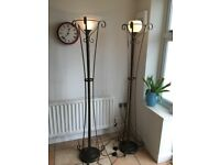 Pair of Marks & Spencer's Bronze Effect Uplighters 1700mm high & Matching Ceiling Lights