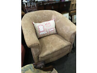 Appealing Classic Antique Victorian Heavy Padded Tub Armchair