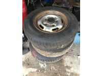 3 Ford Transit (5 stud) steel wheels with 215 75 16C part worn tyres, £15 each or £45 for them all