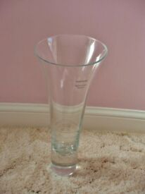 Slanted Top Hand Etched Clear Glass Vase 30cm in Height for Flower Arrangement