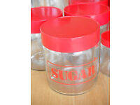 """CLEAR GLASS """"SUGAR"""" STORAGE JAR, Red Lid """"24"""" ~820 ml each. Others available"""