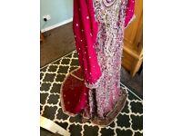 Red beige gold Pakistani Indian bridal maxi wedding dress size 6 petite small