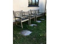 Garden bench and 2 chairs