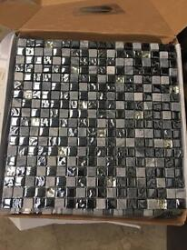 Gladstone dark grey sparkle mosaic tiles
