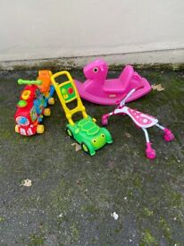 Various kids outdoor toys
