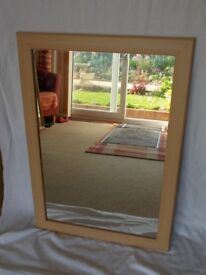 Large mirror in light wood