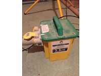 110 volt transformer, cables, extension reel and site floodlights