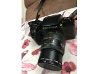 Pentax SF7 35mm Film Camera with 3 Lens, 2 Times Converter, Flash Gun and Other Accessories.