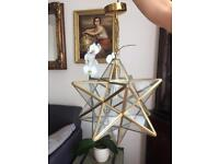 Star Clear Glass Antique Brass pendant used in good condition