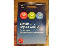 O2 sim with £15 credit.