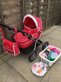 Genuine Silver Cross child's toy pram with bag, bottles, duvet, box of toys *£12 only*