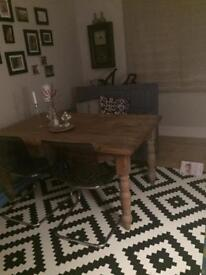 Farmhouse style solid pine wood dining table