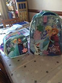 Disney shop Anna and Elsa rucksack and lunch bag