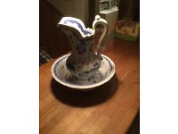 Blue and White Jug and Bowl