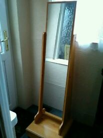 Large free standing wooden full length mirror