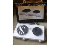 Hot plate - double. White. Brand new - never used. Measures 48x26cms