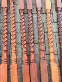 Solid mahogany spindles, newel posts and handrail