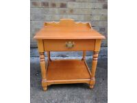 Small pine side table with drawer. Ideal for phone
