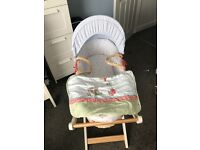 Hardly used Moses basket with stand