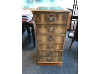 Yew wood antique style leather top three drawer filing cabinet
