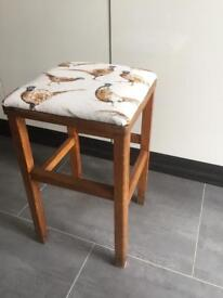Wooden stool with pheasant fabric top