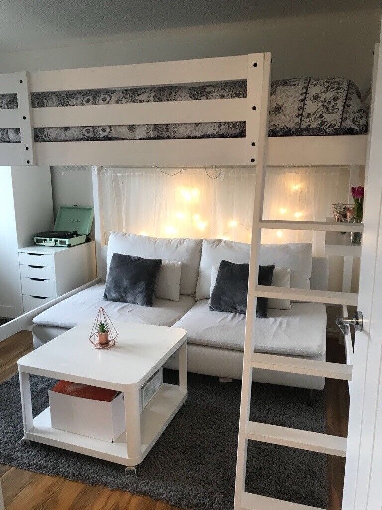 ** white IKEA double mid sleep bed, with sofa underneath. Excellent