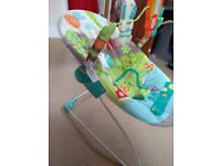 Bright Starts up and away baby bouncer with toy bar & vibrating function